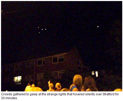 UFOs over England. The strange episode started just after 10.30pm,