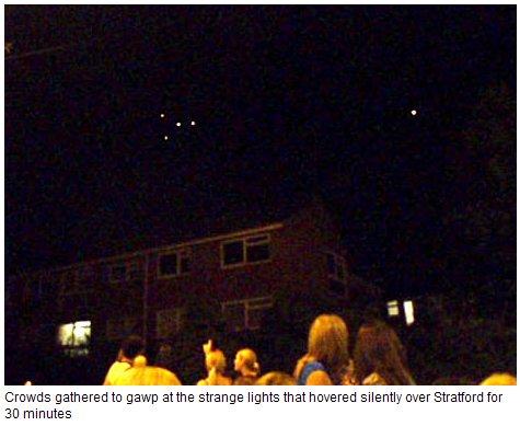 UFOs over England. The strange episode started just after 10.30pm,